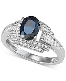 Sapphire (1-1/3 ct. t.w.) and Diamond (1/2 ct. t.w.) Ring in 14k White Gold (Also available in Emerald)