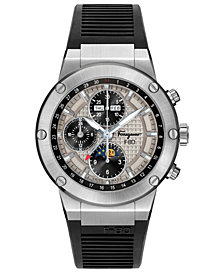 Ferragamo Men's Swiss Automatic Chronograph F-80 Black Rubber Strap Watch 44mm