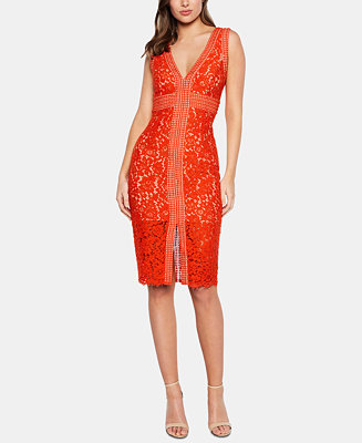 V Neck Allover Lace Sheath Dress by General