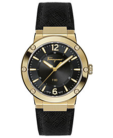 Ferragamo Women's Swiss F-80 Black Leather Strap Watch 34mm