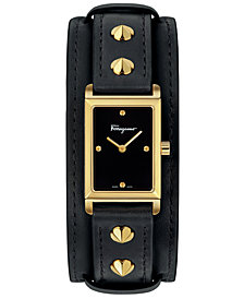 Ferragamo Women's Swiss Fiore Studs Black Leather Strap Watch 20x34mm