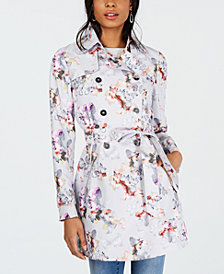 GUESS Printed Double-Breasted Trench Coat