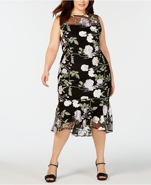 Calvin Klein Plus Size Embroidered Floral Flounce Dress ...