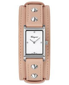 Ferragamo Women's Swiss Fiore Studs Pink Leather Strap Watch 20x34mm