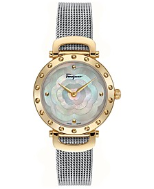 Ferragamo Women's Swiss Ferragamo Style Stainless Steel Mesh Bracelet Watch 34mm