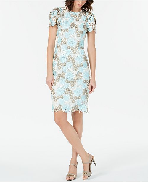 Calvin Klein Short Sleeve Lace Dress