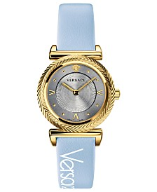 Versace Women's Swiss V-Motif Vintage Logo Light Blue Leather Strap Watch 35mm