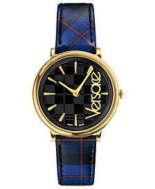 Versace Women's Swiss V-Circle Clans Edition Blue Plaid Leather Strap Watch 38mm