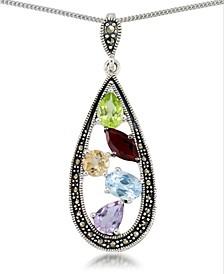 "Multi-Color Stones & Marcasite Teardrop Pendant on 18"" Chain in Sterling Silver"