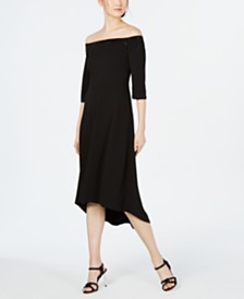 Calvin Klein Off-The-Shoulder High-Low A-Line Dress