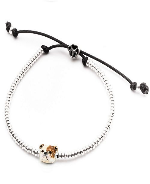 Dog Fever English Bulldog Head Bracelet in Sterling Silver and Enamel