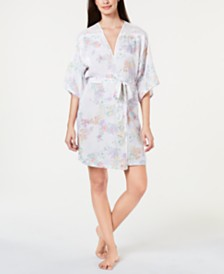 Linea Donatella Luna Bouquet Lace Trim Flower-Print Wrap Robe LUB130