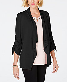 JM Collection Petite Ruched-Sleeve Cardigan, Created for Macy's