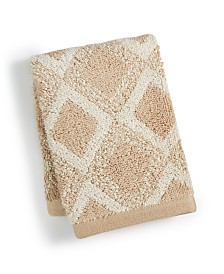 """Hotel Collection Tile Diamond Cotton 13"""" x 13"""" Wash Towel, Created for Macy's"""