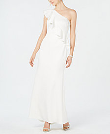 Jessica Howard Ruffled One-Shoulder Scuba Gown