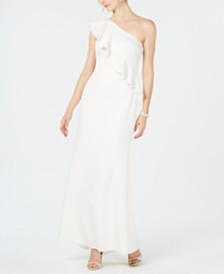 Jessica Howard Ruffled One-Shoulder Scuba Gown