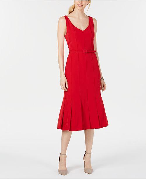 Julia Femme Rouge Robe et Robes fourreau ceinture manches robes Jordan avec sans SUzVMqp