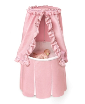 Empress Round Baby Bassinet With Canopy - Pink Bedding With White Pleats