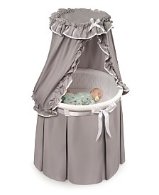 Empress Round Baby Bassinet With Canopy - Gray And White