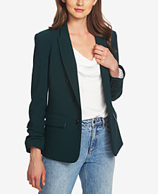 1.STATE Ruched-Sleeve Crepe Blazer