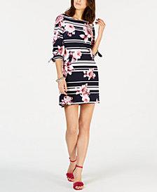 Jessica Howard Petite Puff-Print Tie-Sleeve Dress