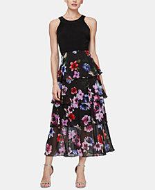 SL Fashions Halter Tiered-Hem Dress