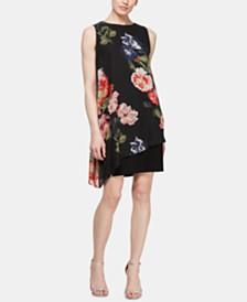 SL Fashions Floral-Print Overlay Shift Dress