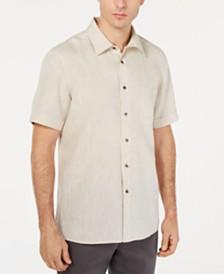 Tasso Elba Men's Cross-Dye Short Sleeve Linen Shirt, Created for Macy's