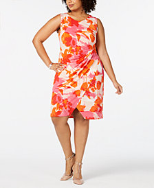 Taylor Plus Size Printed Ruched Sheath Dress