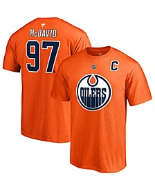 Men's Connor McDavid Edmonton Oilers Authentic Stack Name & Number T-Shirt