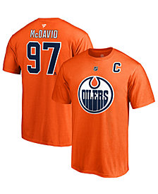 Majestic Men's Connor McDavid Edmonton Oilers Authentic Stack Name & Number T-Shirt