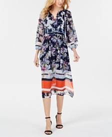 Taylor Long-Sleeve Printed Border Midi Dress