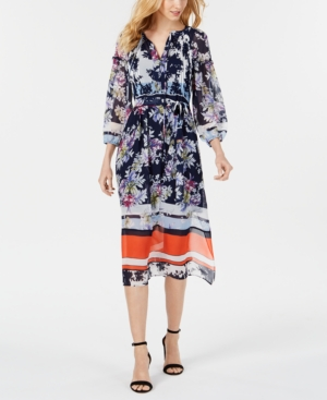 Taylor Dresses LONG-SLEEVE PRINTED BORDER MIDI DRESS