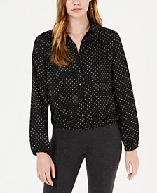BCX Juniors' Printed Button-Front Cropped Shirt