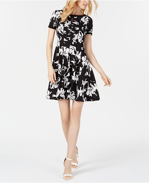 Taylor Petite Printed Fit & Flare Dress