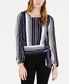 BCX Juniors' Striped Banded Tie-Waist Top