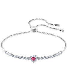 Swarovski Rose Gold-Tone Crystal Heart Slider Bracelet