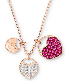 "Swarovski Rose Gold-Tone Ginger Pavé Heart 15-2/3"" Pendant Necklace"