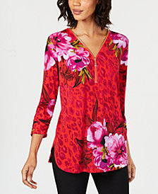 JM Collection Petite Printed Zip-Up Top, Created for Macy's