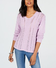 Style & Co Petite V-Neck Pointelle Sweater, Created for Macy's