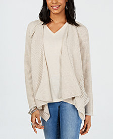 Style & Co Marled Draped Front Cardigan, Created for Macy's