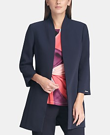 DKNY Long Open-Front Jacket