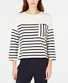Weekend Max Mara Striped Patch-Pocket Cotton Top