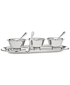 Revere Serving Tray with 3 Bowls & Spoons