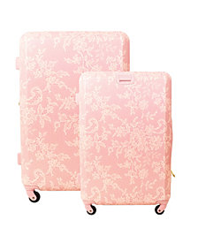 Macbeth Collection Lace Texture Hardside 2-Piece Luggage Set
