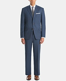 Men's UltraFlex Classic-Fit Blue Sharkskin Wool Suit Separates