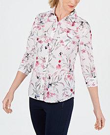 Karen Scott Petite Wildflower Bliss Cotton Button-Up Shirt, Created for Macy's