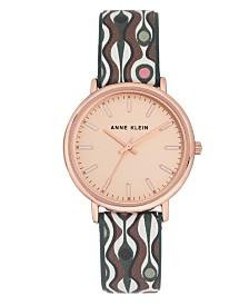 Anne Klein Women's Multi Faux Leather Strap Watch 34mm