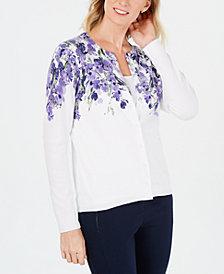 Karen Scott Floral-Print Cardigan, Created for Macy's