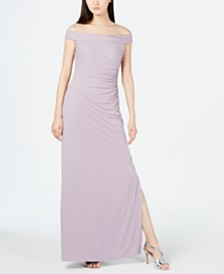 Calvin Klein Sparkle-Knit Off-The-Shoulder Gown